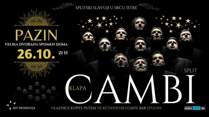 Koncert: Klapa Cambi – 26. listopada 2019. u 21 sat