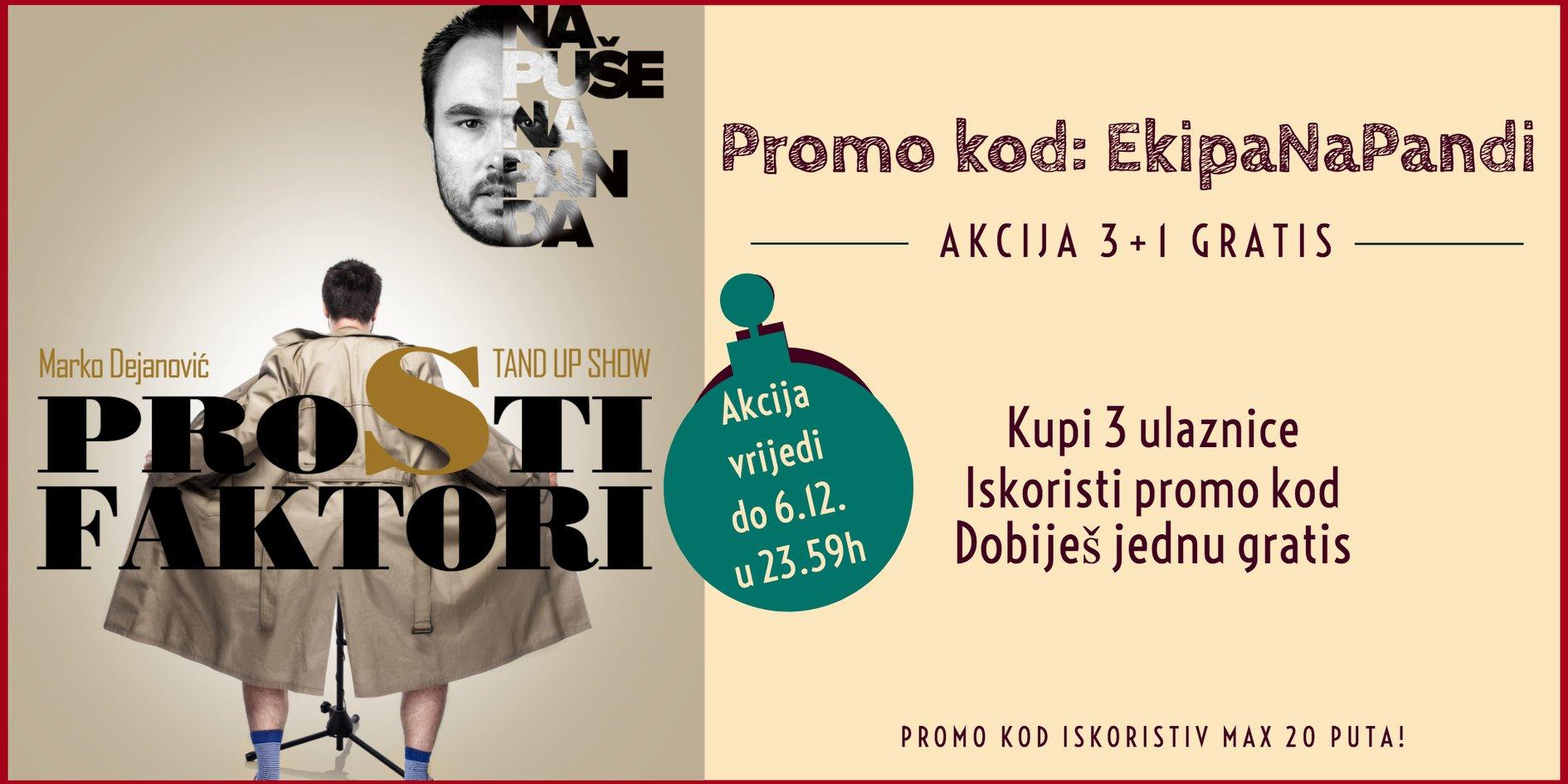 Prosti Faktori Marko Dejanović stand up comedy show – subota, 14.12. u 20, 30 sati