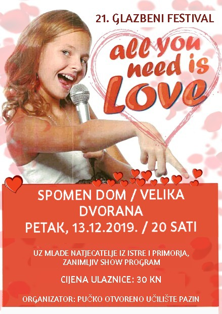 "Festival ""All you need is love"" – petak, 13. prosinca u 20 sati"