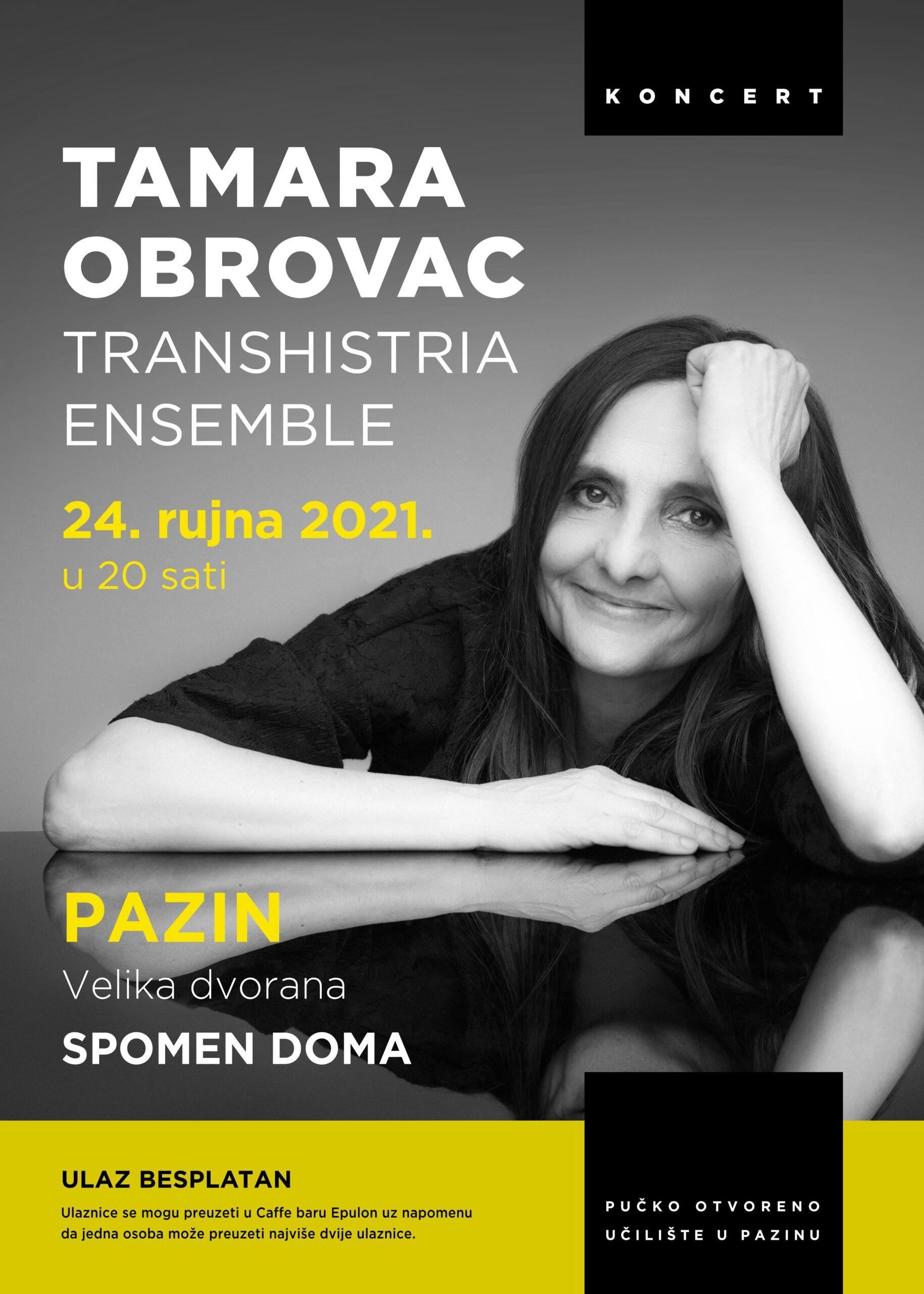 Tamara Obrovac – koncert – petak 24. rujna – Spomen dom